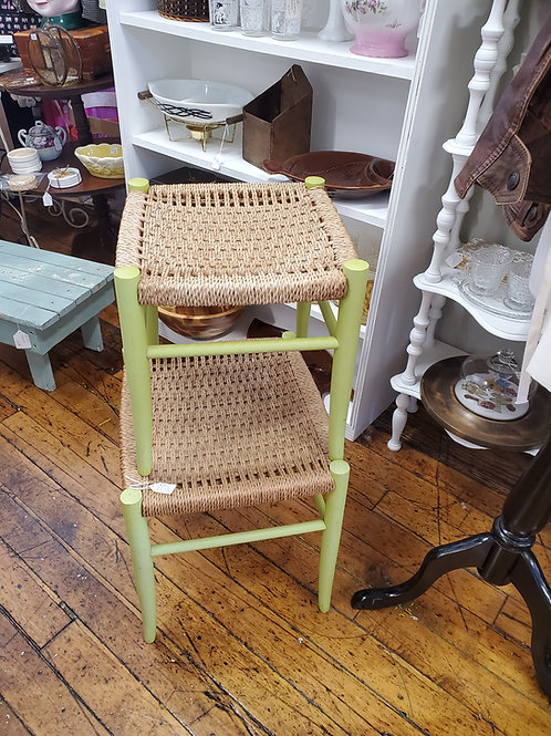 2 Rattan Nesting Stools Foot Rests Painted Spring Green