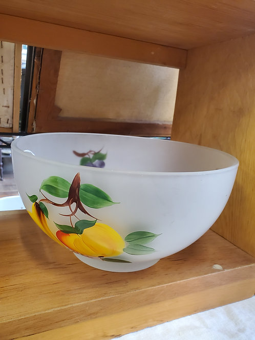 Vintage Frosted and Hand Painted Glass Fruit Salad Bowl