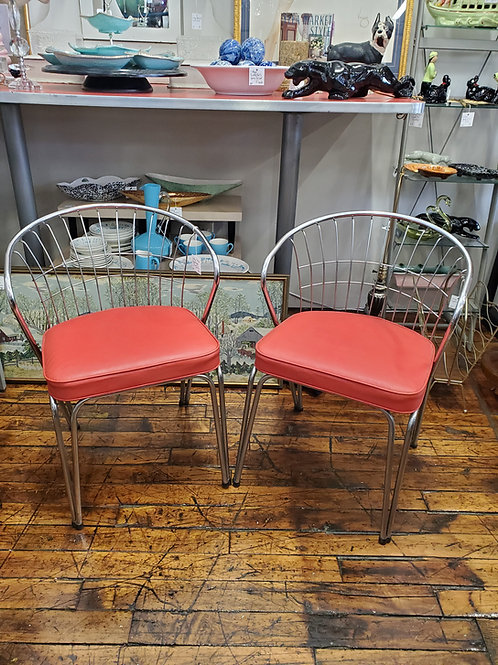 2 Mid Century Chrome and Vinyl Mid Century Modern MCM Chairs