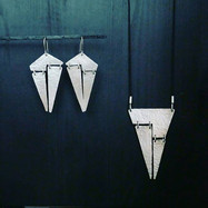 Silver Earrings and adjustable length necklace