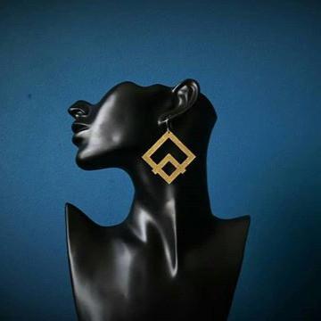 Geometric Love. Brass earrings