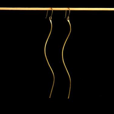 The Wave Brass Earrings