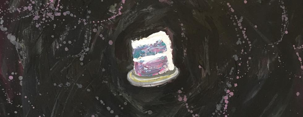 Rainbow Cake in a Black Void