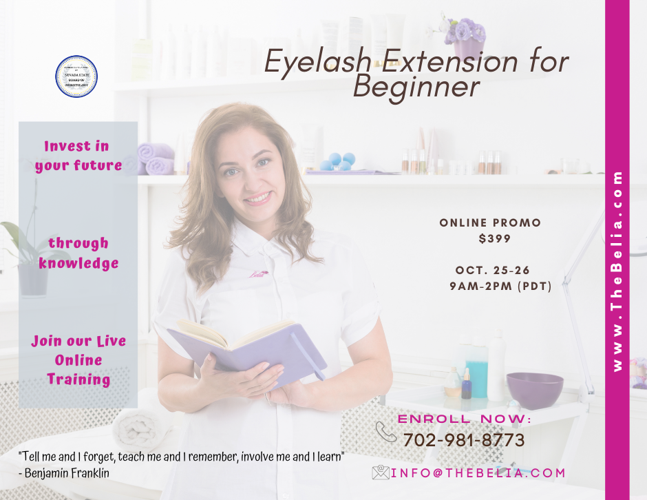 Belia offer 2 days online training course for Eyelash Extension. Educate esthetician or cosmetologist to do proper eyelash application. The class will teach you techniques safe application, product knowledge, contraindication of the service, proper removal, pre and post treatment care. To better perform eyelash extension services in a safe manner.