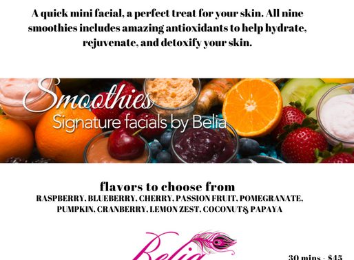 If you enjoy smoothies, come in today for a facial smoothie that will hydrate your skin !
