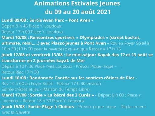 Animation jeunesse été / Programme des activités du 9 au 20 août 2021
