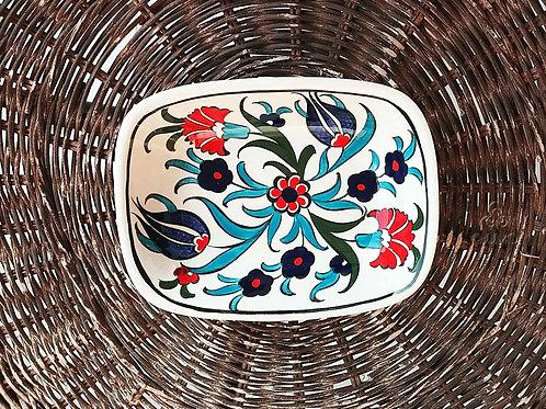 Iznik Ceramic Serving Dish Red Blue Ottoman Floral Motifs