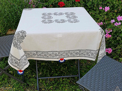 Ivory Turkish Tablecloth Black Ethnic Floral Motifs Hand Crochets