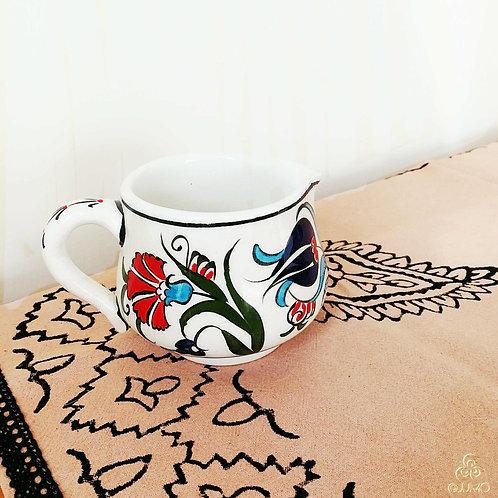 Iznik Ceramic Creamer Red Blue Ottoman Floral Motifs