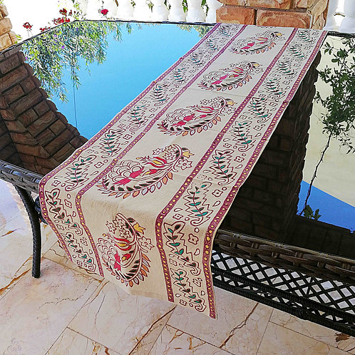 Gray Turkish Table Runner Ethnic Colorful Floral Motifs