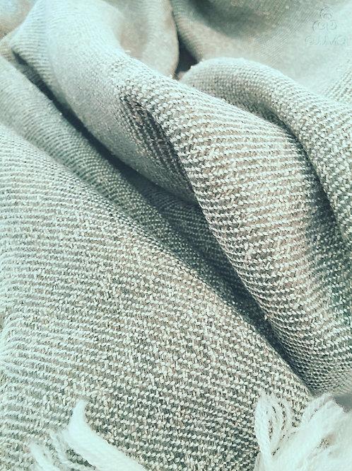 Light Green Soft Wool Silk Turkish Handmade Blanket