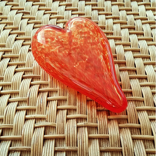Vintage Handmade Orange Glass Heart Paperweight