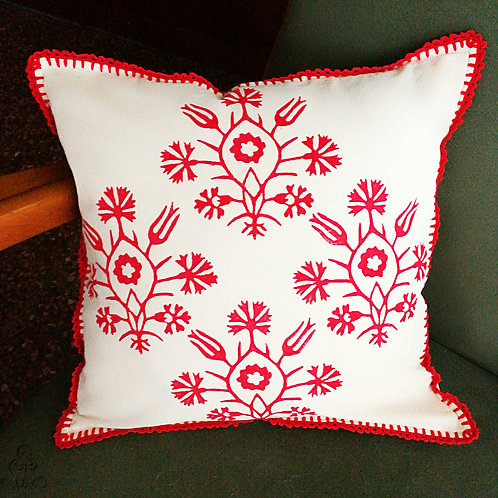 Ivory Cushion Cover Red Turkish Ethnic Floral Motif Hand Crochet Trims