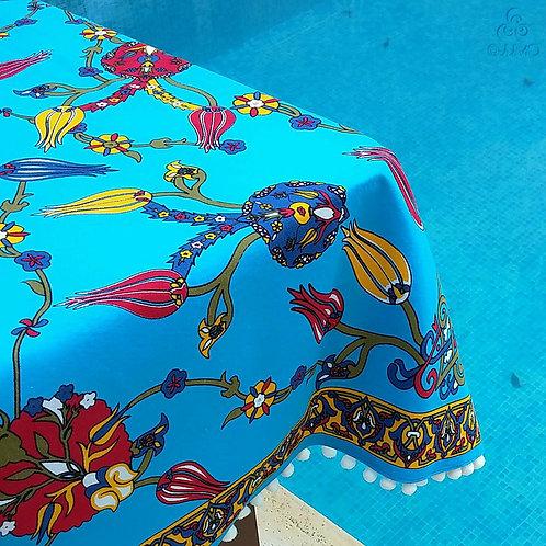 Iznik Tile Print Blue Turkish Tablecloth White Pom-Poms
