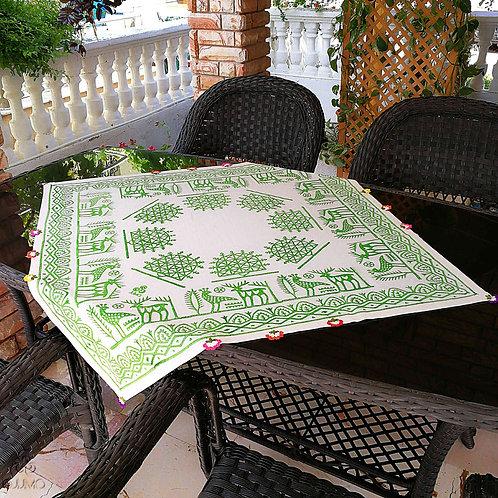 Ivory Turkish Tablecloth Green Ethnic Deer Phoenix Motifs Hand Crochets