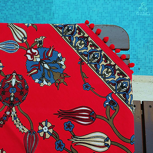 Iznik Tile Print Red Turkish Tablecloth Red Pom-Poms