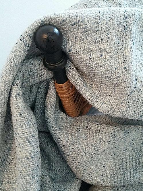 Light Blue Soft Wool and Silk Turkish Handmade Blanket