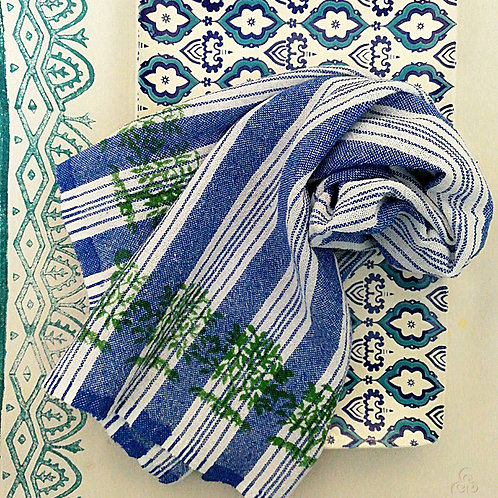 Set of 2 Blue Turkish Peshtemal Kitchen Towels Green Tree Motifs