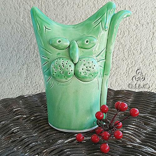 Turkish Handmade Ceramic Green Cat Figurine