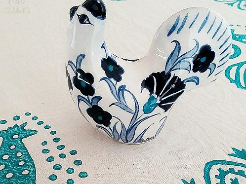 Iznik Ceramic Rooster Figurine Blue Ottoman Floral Motifs