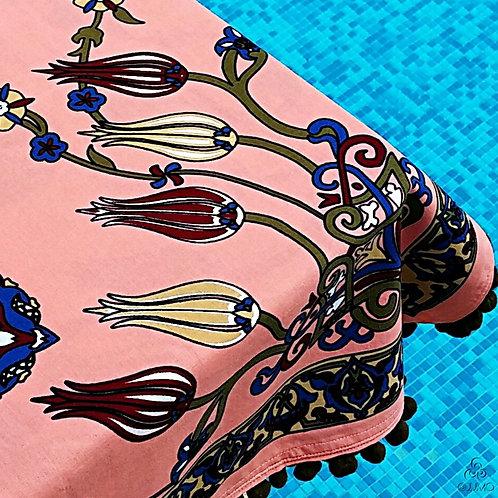 Iznik Tile Print Pink Turkish Tablecloth Khaki Pom-Poms