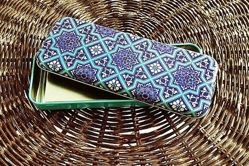 Set of 2 Tin Box Storage Turquoise Blue Ottoman Tile Motifs