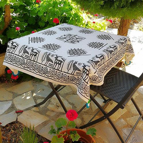 Ivory Turkish Tablecloth Black Ethnic Deer Phoenix Motifs Hand Crochets