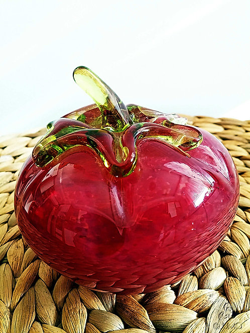 Vintage Handmade Red Glass Tomato