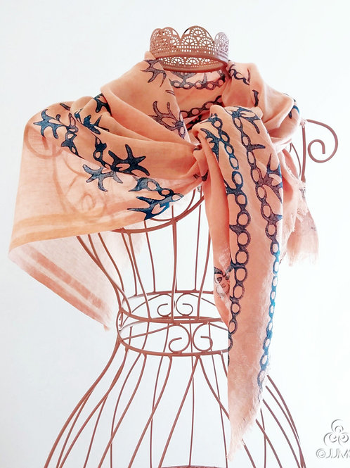 Pink Turkish Scarf Blue Ethnic Floral Motifs