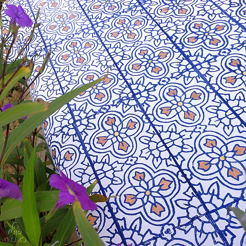 White Turkish Tablecloth Blue Iznik Motifs Hand Crochets