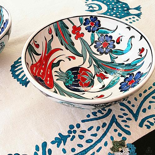 Iznik Ceramic Bowl Red Blue Ottoman Pomegranate Tulip Motifs