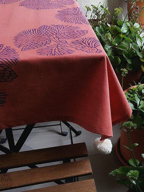Red Tablecloth Deep Purple Ethnic Motifs Ivory Pom-Poms