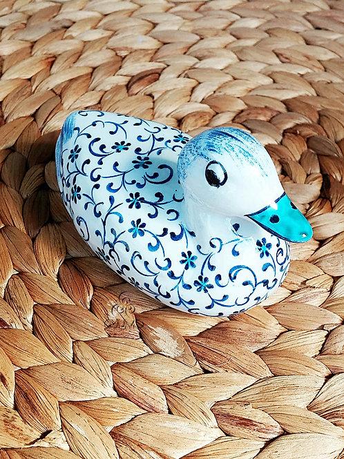Iznik Ceramic Duck Figurine Blue Ottoman Floral Motifs
