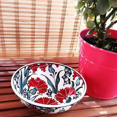 Iznik Ceramic Bowl Red Blue Ottoman Carnation Motifs
