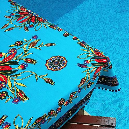 Iznik Floral Print Turquoise Turkish Tablecloth Purple Pom-Poms