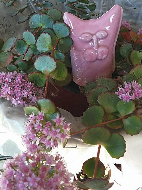 Turkish Handmade Ceramic Pink Cat Figurine