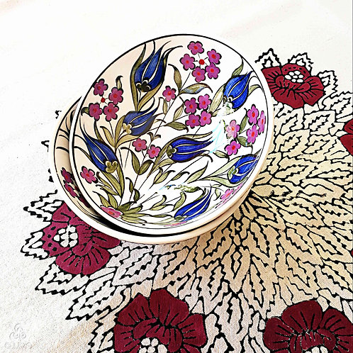 Iznik Ceramic Bowl Red Blue Ottoman Floral Motifs