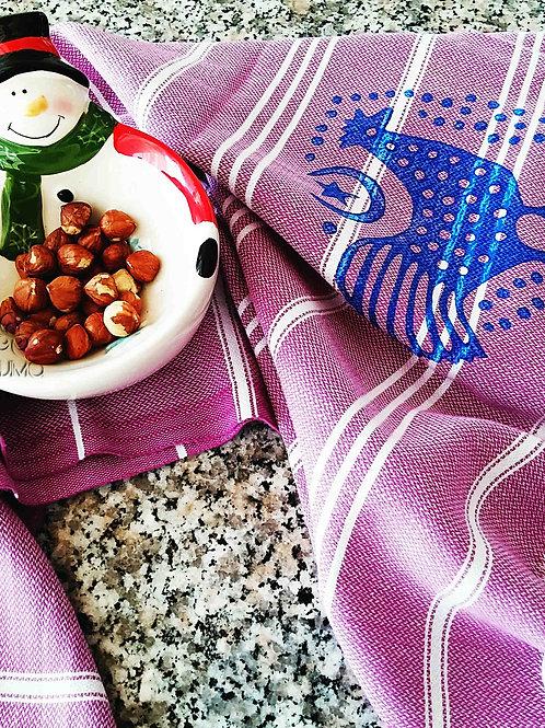 Set of Pink Green and Purple 3 Turkish Peshtemal Kitchen Towels Rooster Motifs