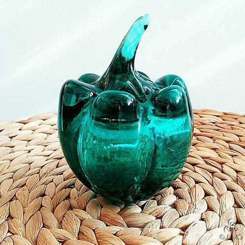 Vintage Handmade Green Glass Pepper