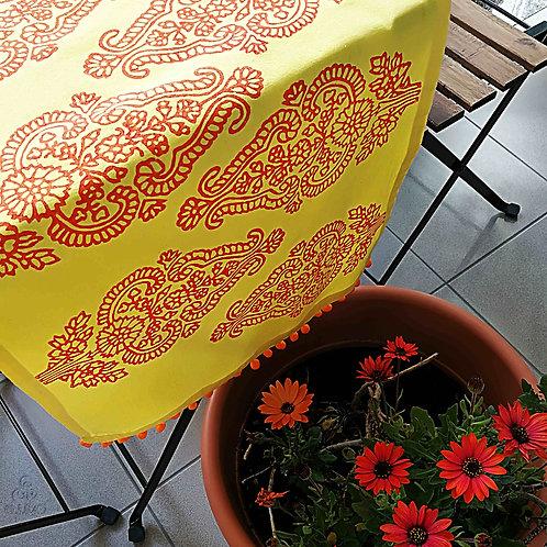 Yellow Turkish Table Runner Ethnic Motifs Orange Pom-Poms