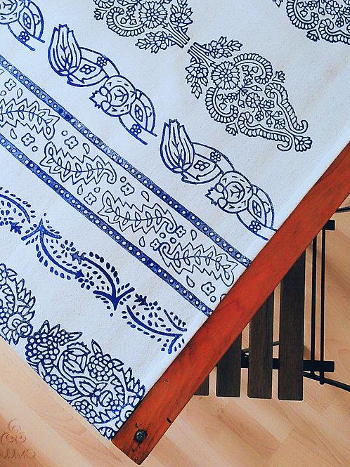 Ivory Turkish Table Runner Ethnic Motifs Fringes Tassels