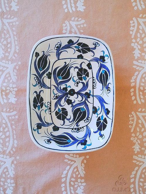 Iznik Ceramic Large Serving Dish Blue Ottoman Floral Motifs