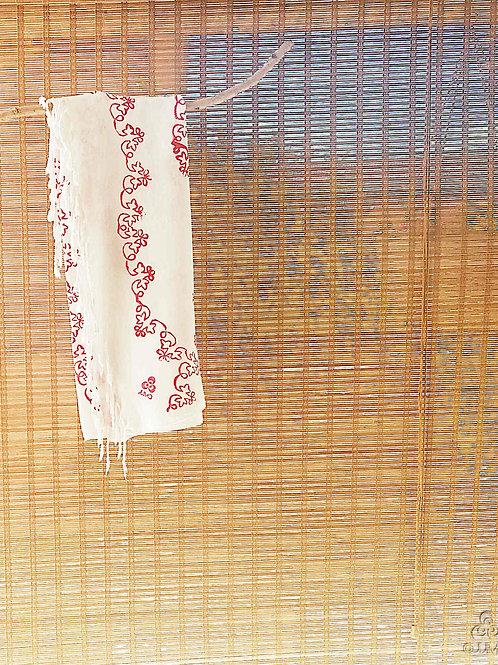 White Turkish Peshtemal Towel Red Turkish Naive Motifs White Fringes