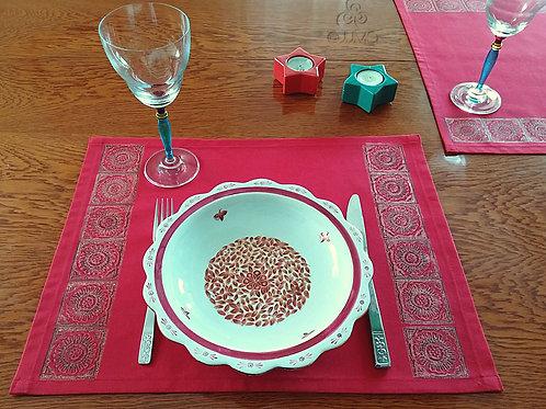 Set of 4 Red Turkish Placemat Ethnic Motifs
