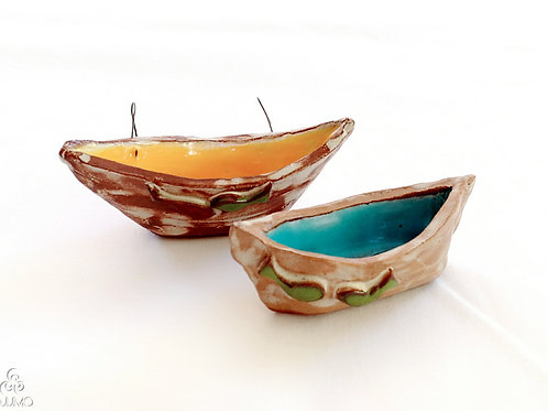 Handmade | Set of 2 Turkish Ceramic Boats Blue and Yellow Tones