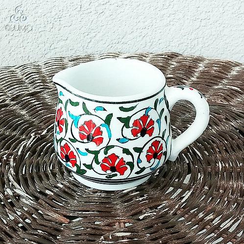 Iznik Ceramic Creamer Red Ottoman Carnation Motifs