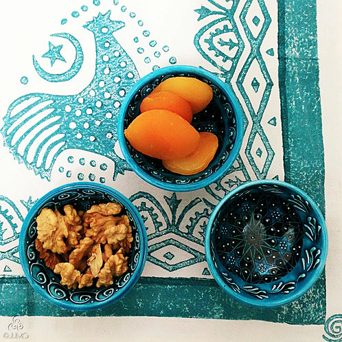 Iznik Style Set of 3 Ceramic Mini Bowls Seljuk Star Motifs on Turquoise