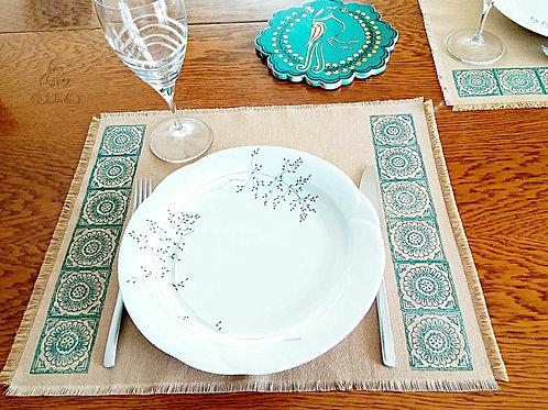 Set of 3 Beige Turkish Placemats Ethnic Motifs