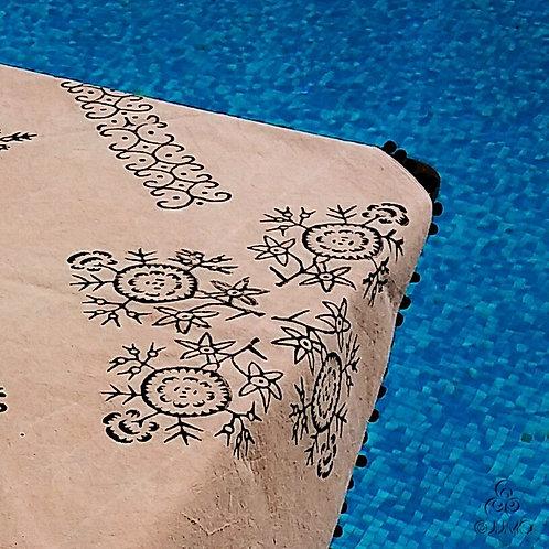 Beige Turkish Tablecloth Black Ethnic Anatolian Motifs Black Pom-Poms
