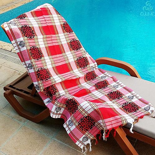Red White Plaid Turkish Peshtemal Towel Ottoman Motifs White Fringes